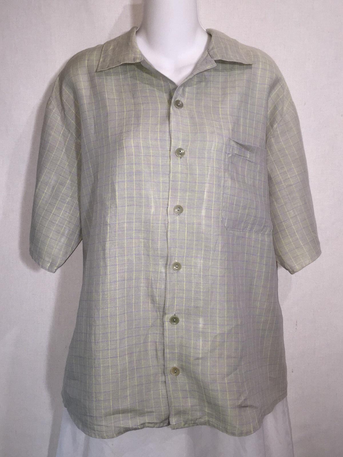 FLAX by Jeanne Engelhart Grün Linen Boxy Button Front Tunic Top Shirt Medium M