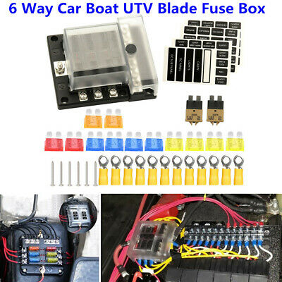 14 Pcs Blown Fuse Included Blade Fuse Box Holder W//Negative Bus with Protection Cover for 12V//24V Boat Car Marine Yacht Ship RV Extractme Upgraded 6 Way Fuse Block with Thumbscrew /& LED Indicator