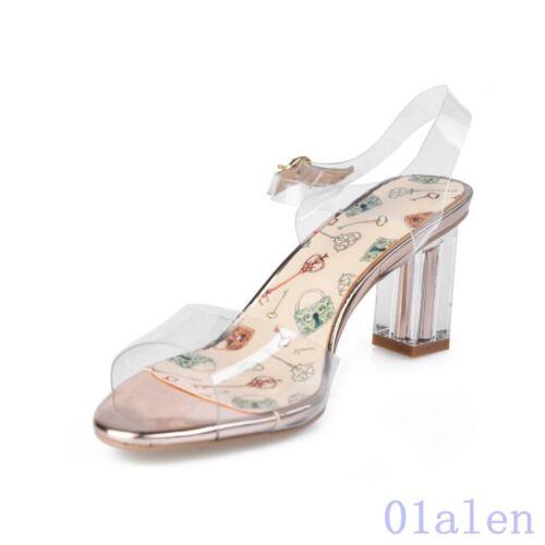 Chaussures femme brides à boucle carré Bout Ouvert Découpé Talon Bloc Clair Sandales Clair 2018