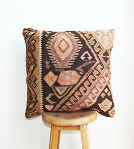 Handmade-Kilim-PILLOW-CUSHION-COVER-Turkish-Tribal-Decorative-Pillow-18-034-x-18-034