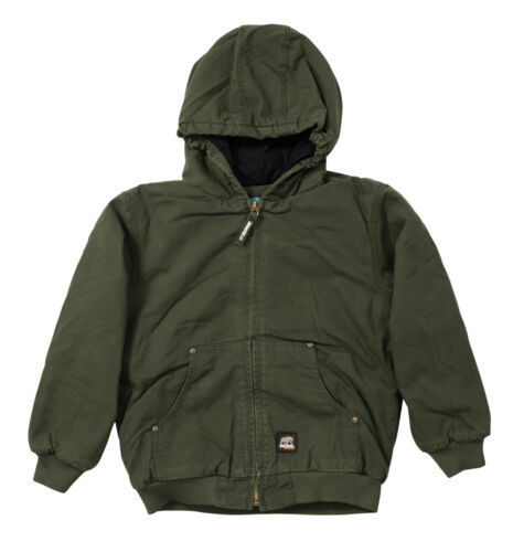 Berne Boys Olive Duck 100/% Cotton Youth Hooded Jacket