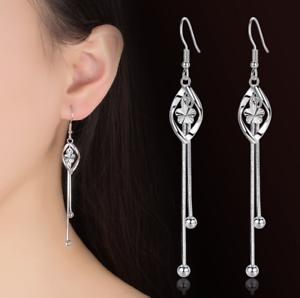 Womens-Leaf-Butterfly-925-Sterling-Silver-Plated-Earrings-Hook-Drop-Dangle-Chain