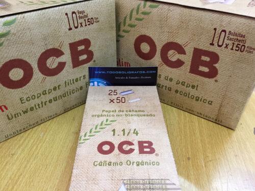 OCB  organico 50 libritos papel de fumar    + 2550  filtros OCB organicos slim.