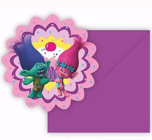 6 x troll trolls movie birthday party invitations envelopes