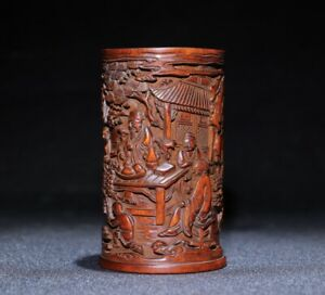 Collect natural Boxwood carved Under pine trees to meet with friends Brush Pot