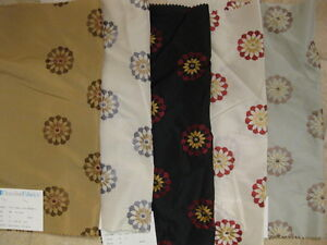 Faux-Silk-Polyester-Duralee-Embroidered-Star-Medallion-Designer-Fabric-Sample
