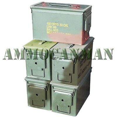 5-PACK! FIVE 50 CAL GRADE 2 AMMO CANS M2A1 5.56 EMPTY AMMUNITION CANS