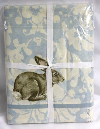 Williams Sonoma Damask Bunny Tablecloth NIP New Cotton Blue Cream 70 x 108 inch