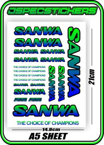 SANWA RC RADIO CONTROL STICKERS MT4 M12 SERVO RX TX CAR BUGGY NITRO BLUE GREEN B