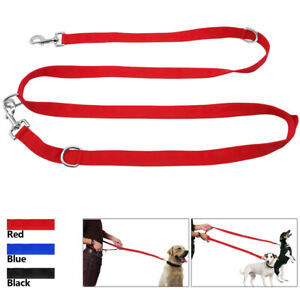 Police-Style-Dog-Training-Lead-Double-Ended-Obedience-Leash-Multi-Functional-Red