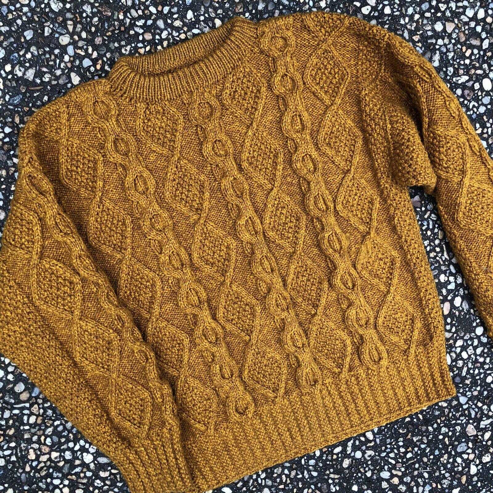 "Vintage Golden Honey Brown Irish Fisherman Sweater 38"" Chest Unisex Men Women"