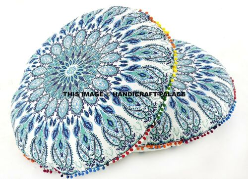 2PC Mandala Bohemian Cotton Round Floor ow Cushion Throw Hippie Pom Lace 32""