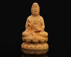 """3.9""""Chinese Box-wood HandCarving Sit Lotus Kwan-yin Boddhisattva Guan Yin Statue"""