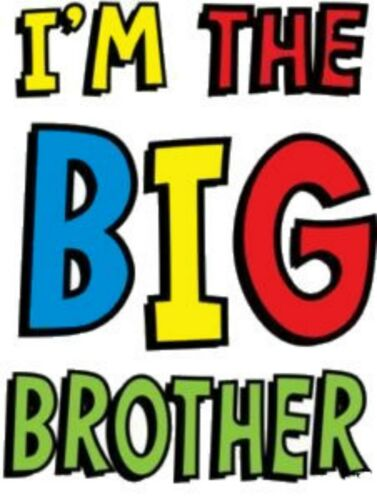IM THE BIG BROTHER HUMOUR IRON ON T SHIRT TRANSFER LARGE A4 SIZE