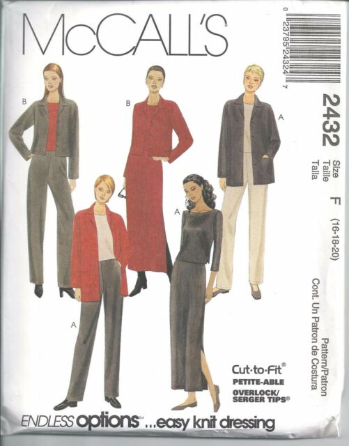 McCalls 2432 Misses Knit Jacket Top Pants Skirt Sewing Pattern 16 18 ...