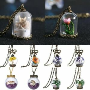 Retro-Nature-Real-Dried-Flower-Leaf-Glass-Bottle-Pendant-Necklaces-Chain-Gift