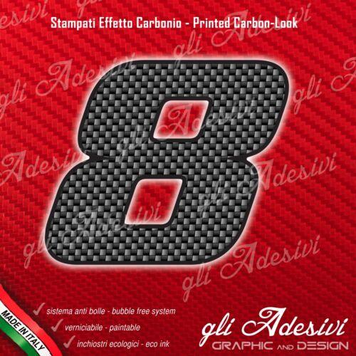 Adesivo Stickers NUMERO 8 moto auto cross gara Carbon Effect Back 5 cm