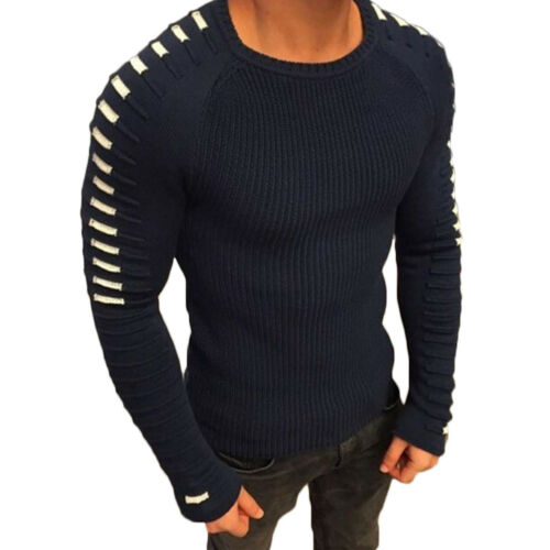 Men Casual Knit Slim Crew Neck Long Sleeve Pullover Muscle Sweater Jumper Tops
