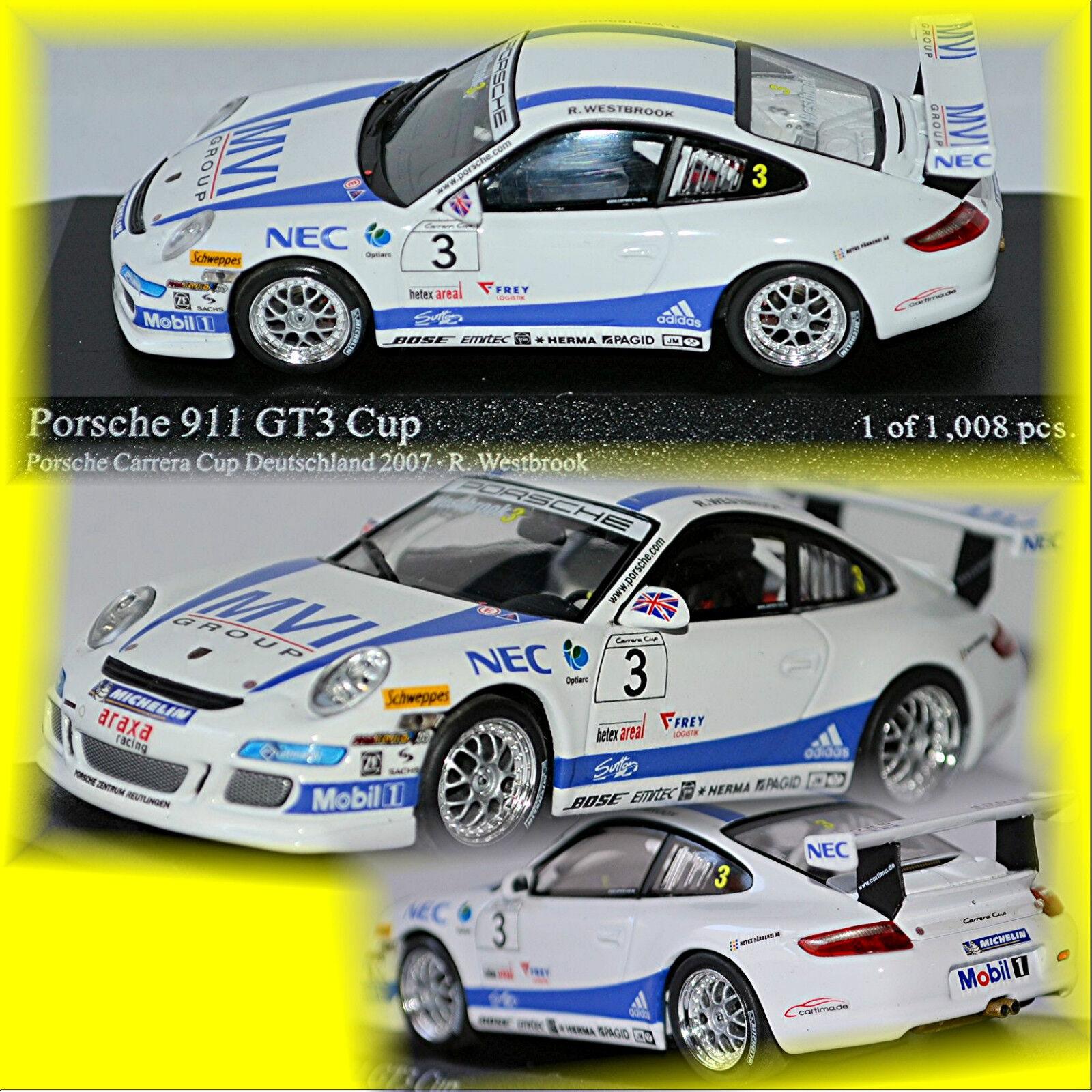 Porsche 911 997 gt3 Carrera Cup 2007  3 Westbrook 1 43 Minichamps