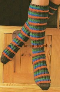 Bed Socks Knitting Pattern 2 Needles : VINTAGE KNITTING PATTERN FOR WARM & COSY LONG SOCKS worked on 2 needles D...