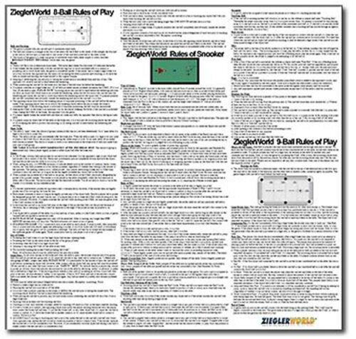 LAMINATED RULES POSTER - SNOOKER - 8 BALL (EIGHT BALL)  - 9 BALL (NINE BALL )