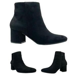 Ladies-Women-Mid-Heel-Almond-Toe-Suede-Ankle-Boots-UK-Size-3-8