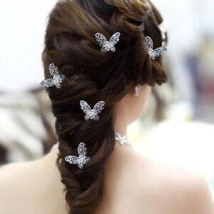 Set-5-Haarnadeln-Schmetterlinge-Hochzeit-Strass-Blume-Tiara-Diadem-Haarschmuck
