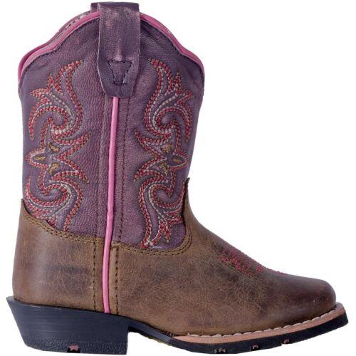 Dan Post Toddler-Youth Girl/'s Tryke Brown Square Toe Western Boots DPC1947 NIB
