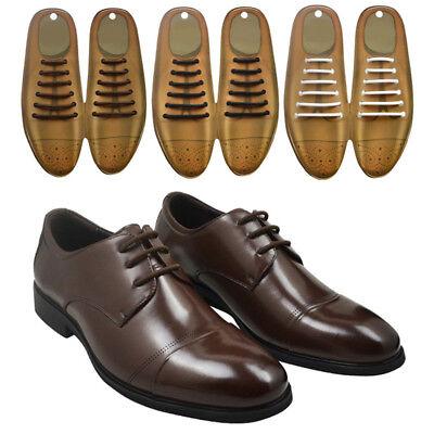 12PCS Mens Elastic Free Tying No Tie Lazy Silicone Shoelace Dress Shoe Laces US