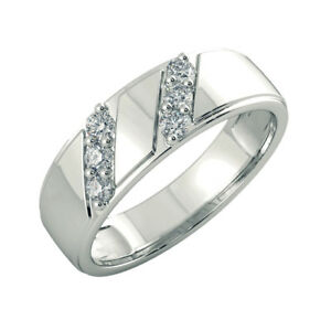c71d69621 0.42 Ct Round Natural Diamond Anniversary Mens Band 14K White Gold ...