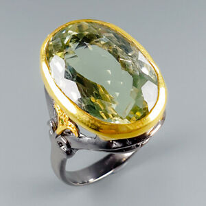 One-of-a-kind-Natural-Green-Amethyst-925-Sterling-Silver-Ring-Size-8-R114758