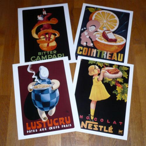 Lot de 4 Poster Affiche  Nestlé  Campari Cointreau Lustucru 30 cm x 40 cm NEUF