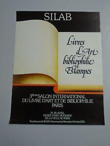 AFFICHE-SILAB-LIVRES-D-ART-BIBLIOPHILIE-ESTAMPES-MUSEE-D-ART-MODERNE-45X59cm