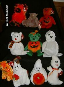 Ty Beanie Babies  Halloween Bears, Cats, Bats, Witch, Ghosts, Spiders New