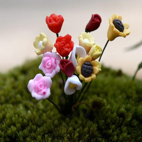 1~6X Miniature Dollhouse Simulation Flower Rose Fairy Garden DIY Bonsai DecRDUV