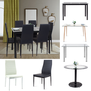 Glass-Dining-Table-PU-Leather-Chairs-Dining-Table-Kitchen-White-Black