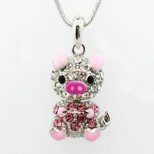 NEW PINK CRYSTAL & SILVER CUTE NODDING HEAD PIG PIGGY PENDANT NECKLACE