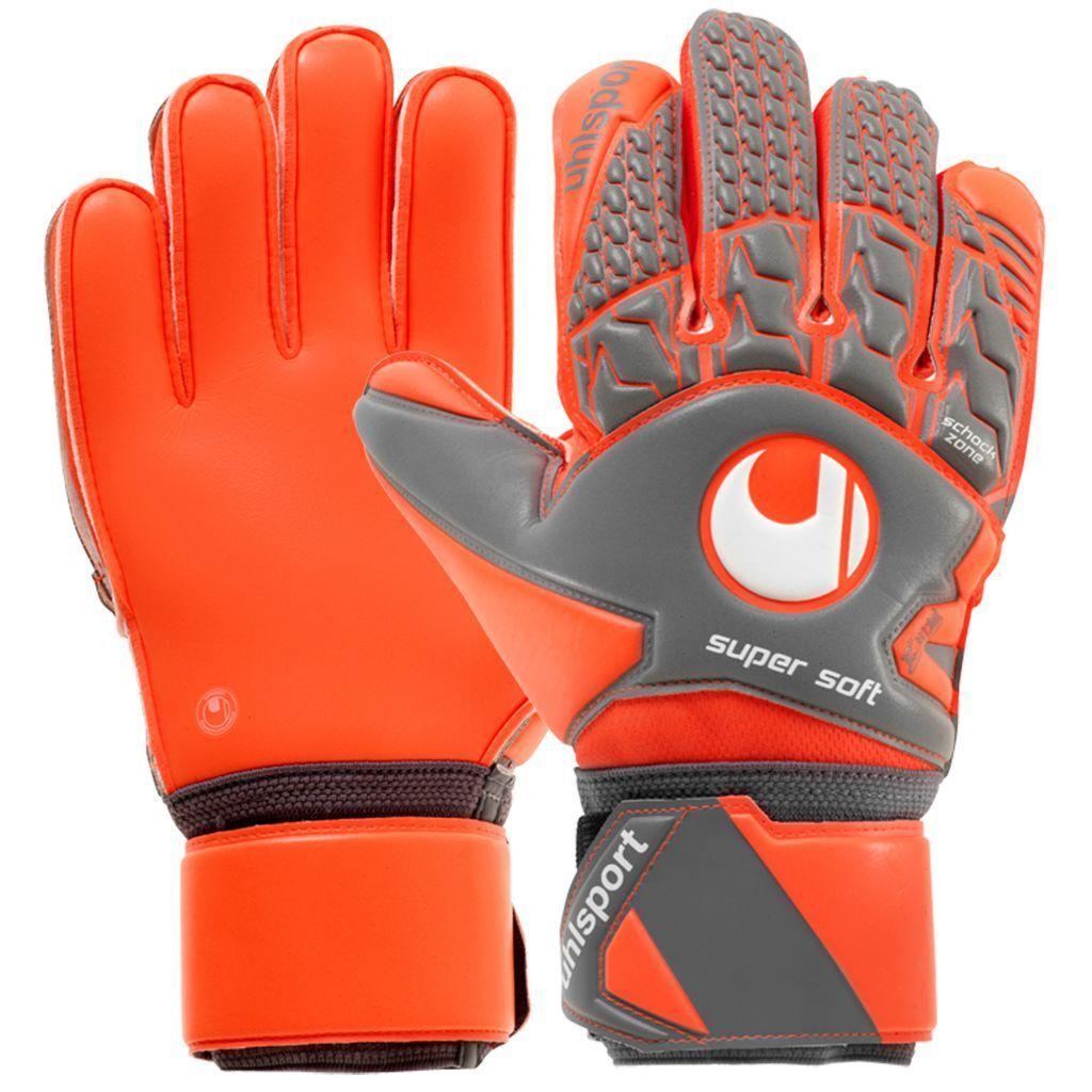 Uhlsport 101105702 Aerored Supersoft Handschuhe Dark grey Fluo red white