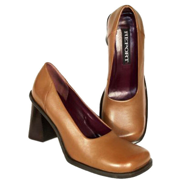 NEU REPORT Damens Braun Leder Pump High Heel Dress Slip On Casual Schuhe Sz 10 M