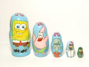 Details about SpongeBob SquarePants Nesting Doll 5 pieces, Matryoshka 4  inches/10 cm