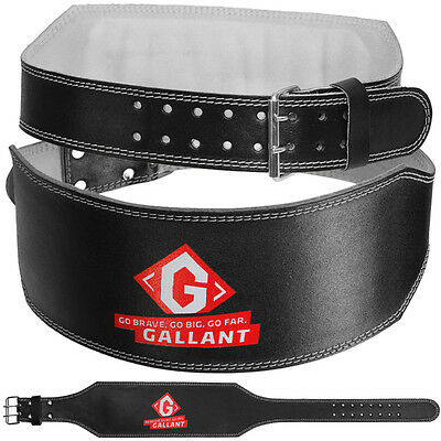 """Gallant Weight Lifting Belt 6"""" Real Leather Back Support Gym Power Fitness Strap"""