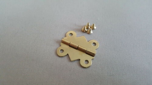 Gold Hinges DIY for Boxes Craft Models Dolls House Set With Free Screws
