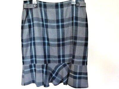 East 5th Plaid Skirt A-line Knee Length Blue & Gray Flirty Hem Waist Accents 14 Good Reputation Over The World Women's Clothing Skirts