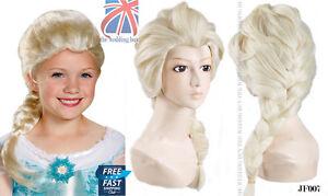 Reino-Unido-Kids-Princesa-Elsa-Snow-Queen-congelados-Rubia-Tejido-Trenza-Peluca-Cosplay-jf007