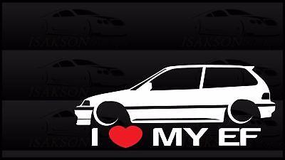 I Heart My EK Sticker Love Slammed Low JDM Civic Hatch Japan Honda Static Bagged