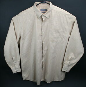 Talbots-Men-039-s-XXL-beige-and-white-check-l-s-shirt-EUC-wrinkle-resistant