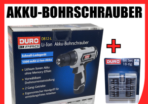 DURO PRO Akku Bohrschrauber Schnell-Ladegerät 1500mAh Li-Ion Akku inkl Bit Set