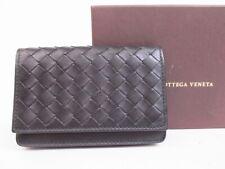 Authentic Bottega Veneta Intrecciato Black Leather Business Card Case 4987