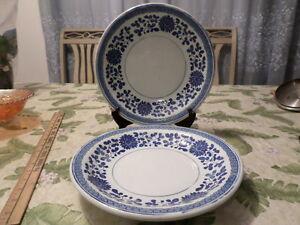 "2 Vintage Chinese Blue-White Plates ""Jingdezhen Zhi"" Republic Period"