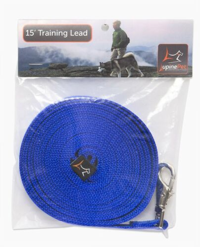 """NEW Extra Long Training Leash in 7 Colors 3//4"""" W x 15' by LupinePet Basics"""